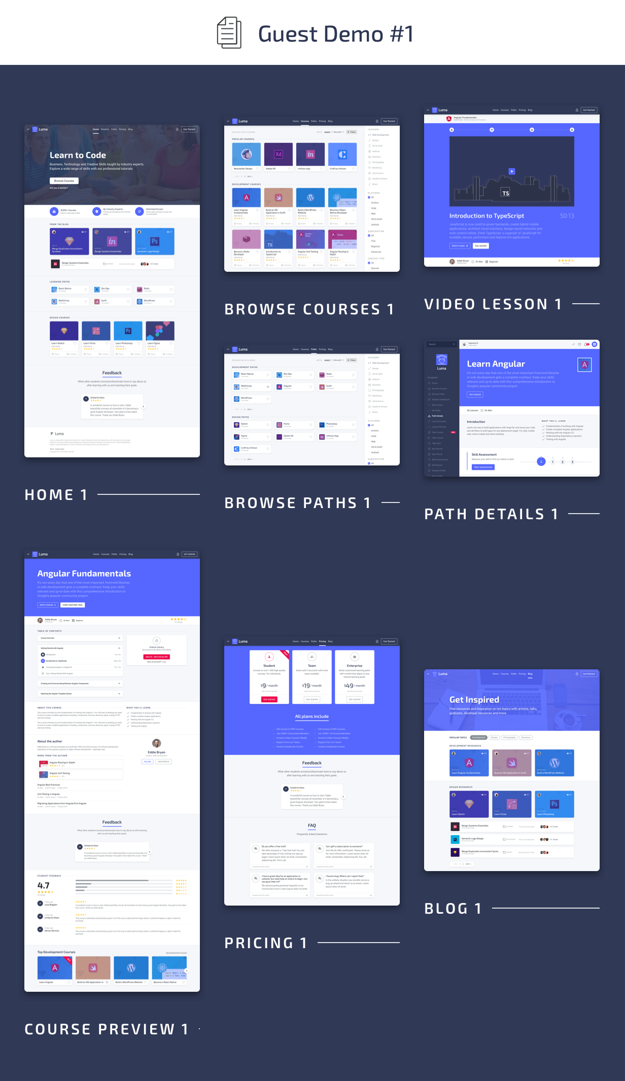 Guest Pages - Luma HTML Education & Learning Management System Admin Template