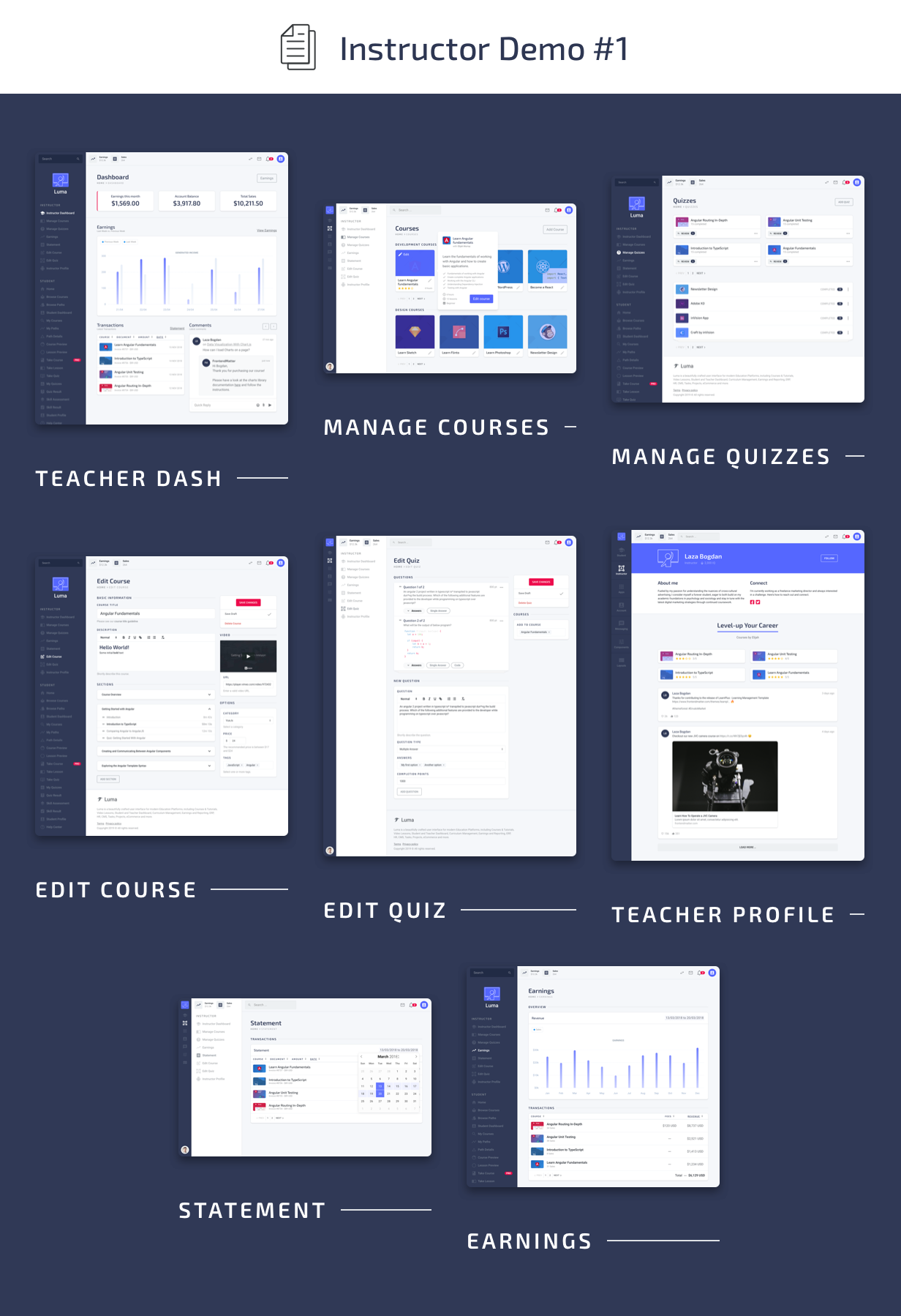 Instructor Pages - Luma HTML Education & Learning Management System Admin Template