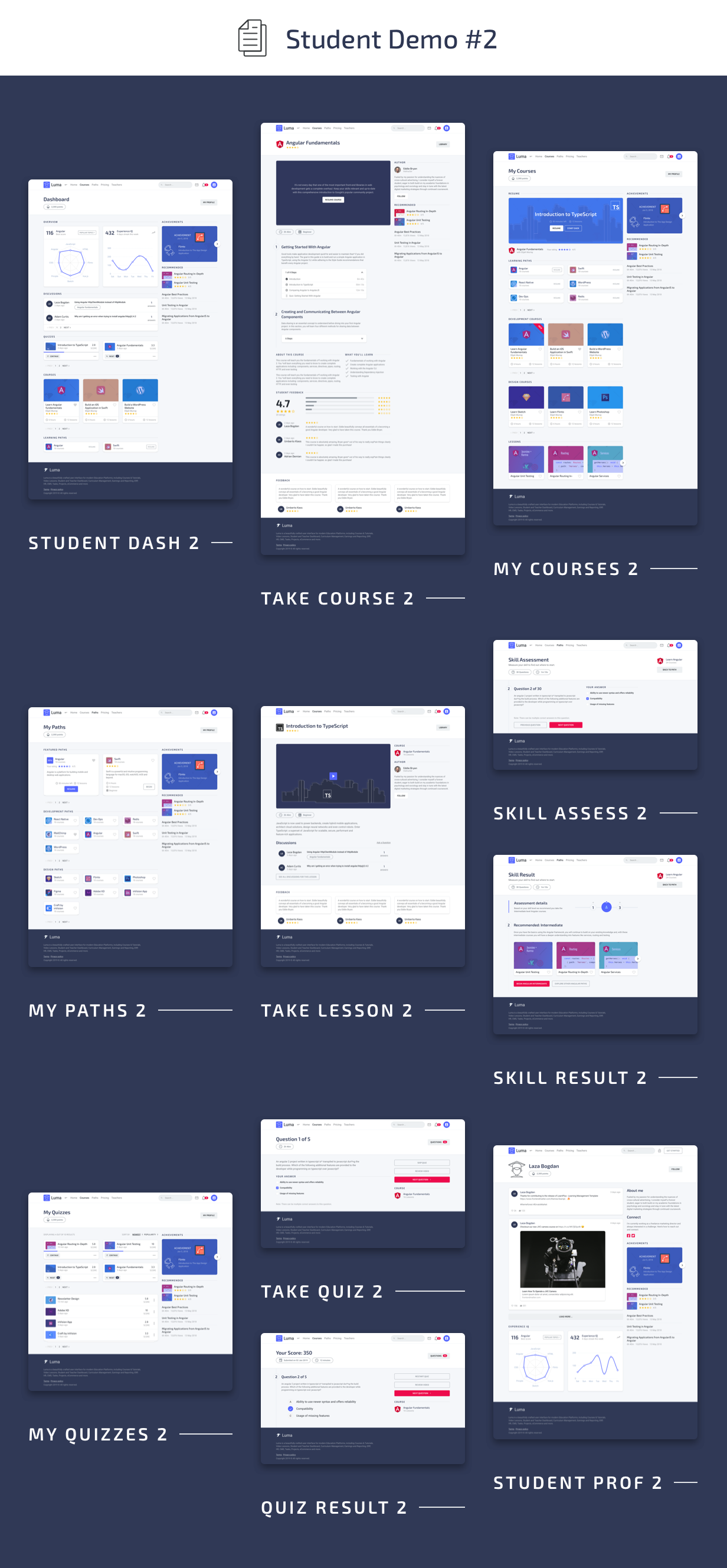 Student Pages #2 - Luma HTML Education & Learning Management System Admin Template