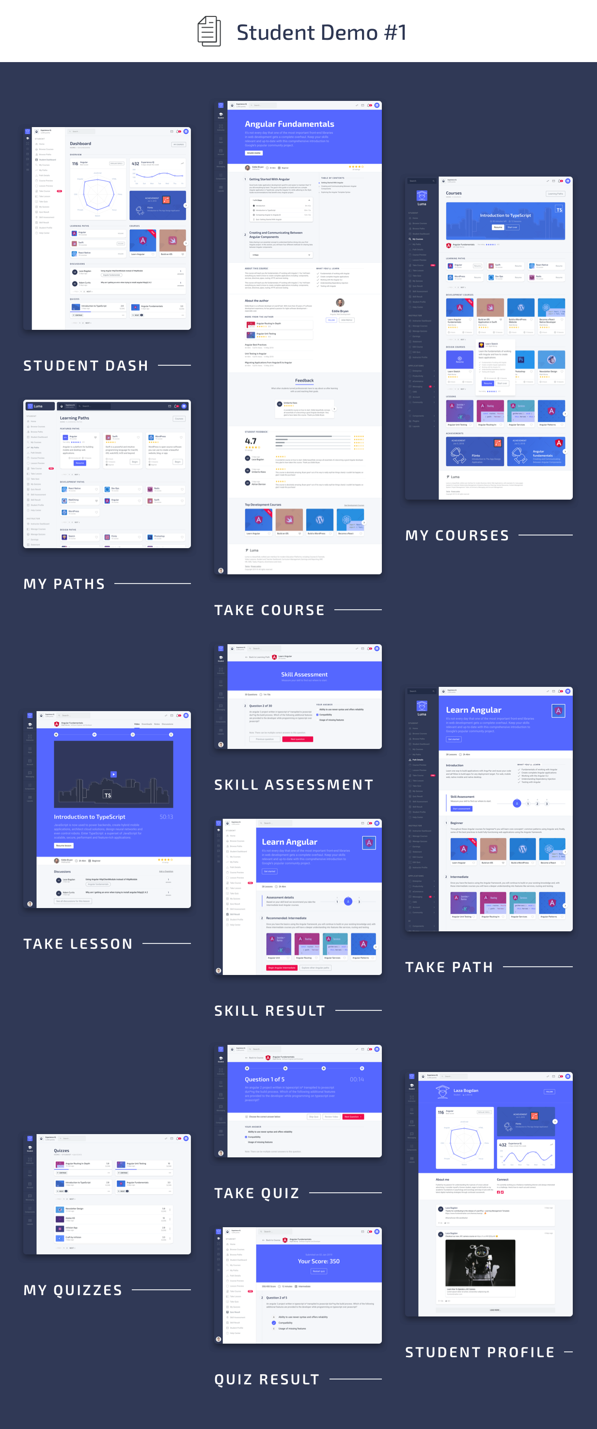 Student Pages - Luma HTML Education & Learning Management System Admin Template