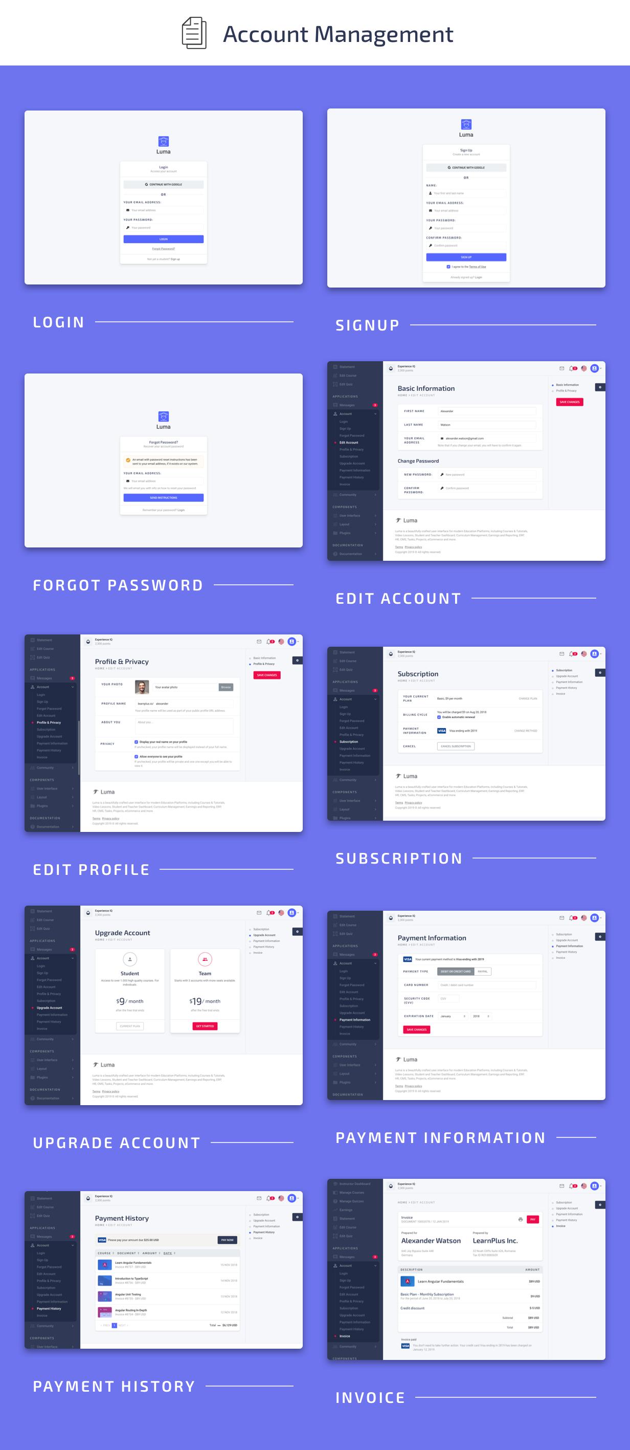 Account Management Pages - Luma Laravel