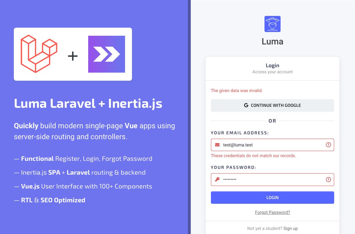 Luma Laravel + Inertia.js Features - Vue Admin Dashboard Template