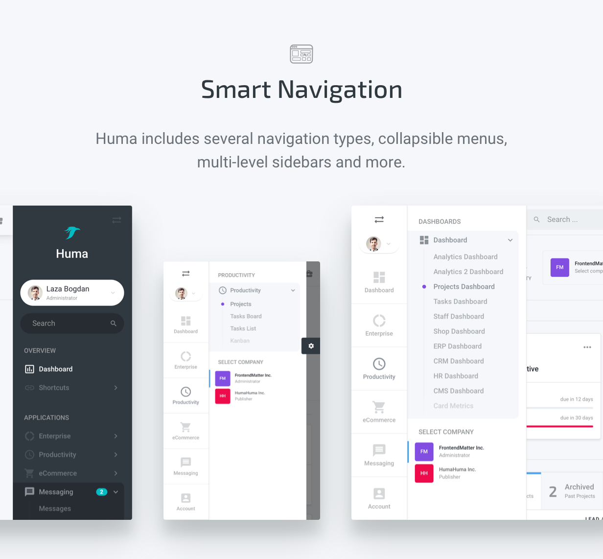 Smart Navigation - Huma Admin Dashboard PRO